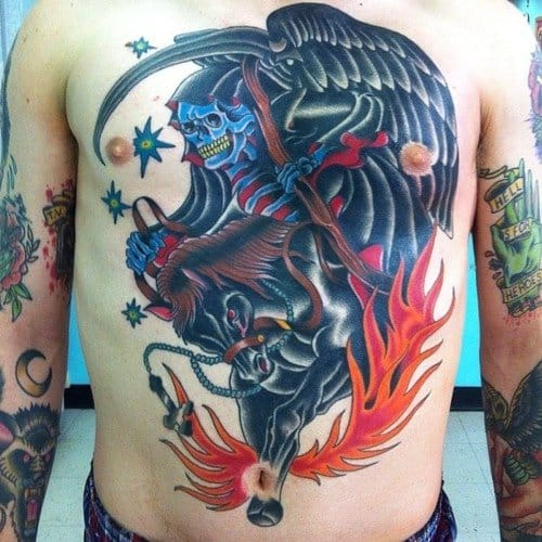 Powerful front piece of a reaper on a horse, man that must've hurt!