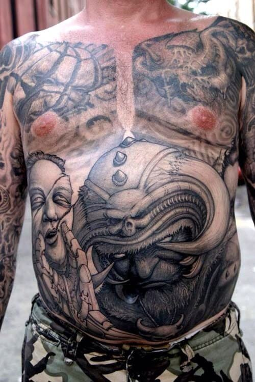 Huge stomach tattoo that definitely hurt real bad, haha!