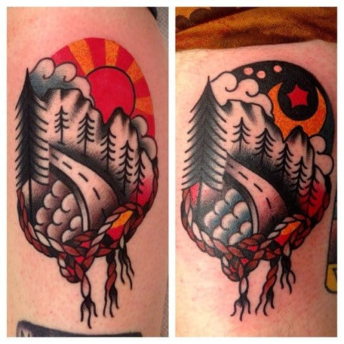 Matching Road Tattoos by Austin Maples
