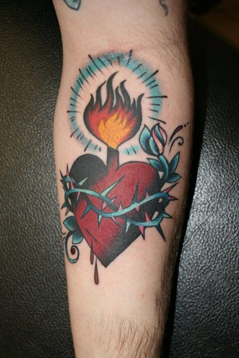 Sacred heart tattoo by Jason Blanton