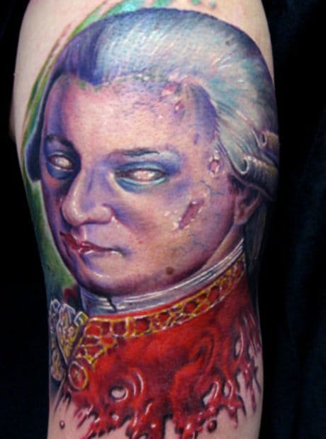 Mozart, one of the fathers of music … Here in a zombie twist … (artist unknown, tell us).