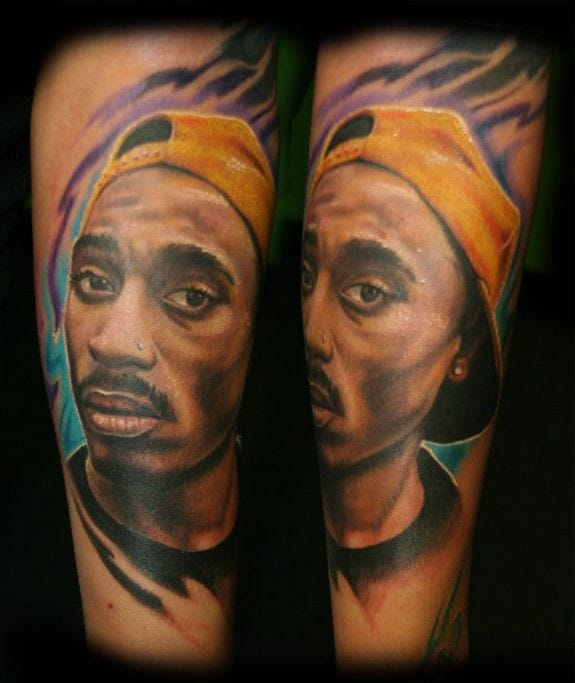 Rapper Tupac had a song called Tattoo Tears. Lot of fans are crying when listenning to his songs now. Portrait by Stevie Monie.