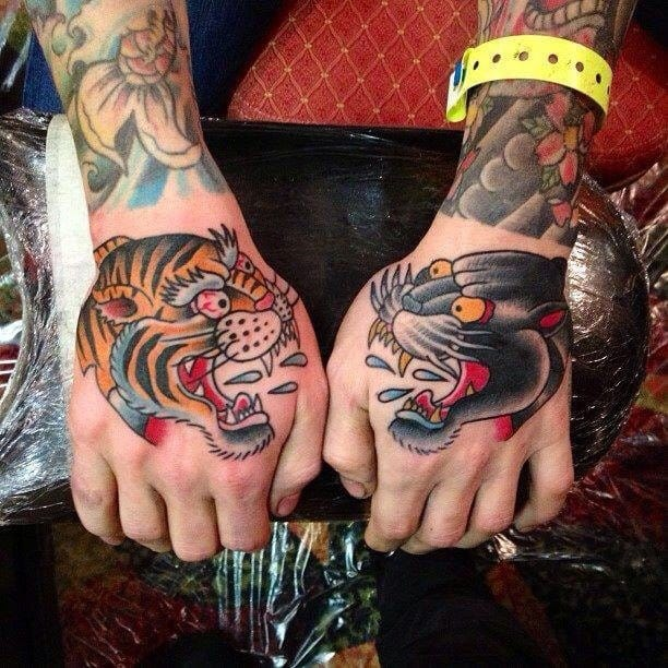 Tiger and Panther beautiful hand tattoos