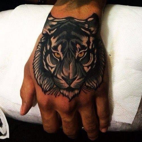 Tiger Head Hand Tattoo, masterfully done!