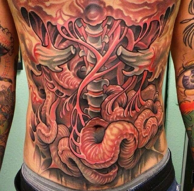 Body's internal organs tattoo, tattoo of guts, impressive tattoo design