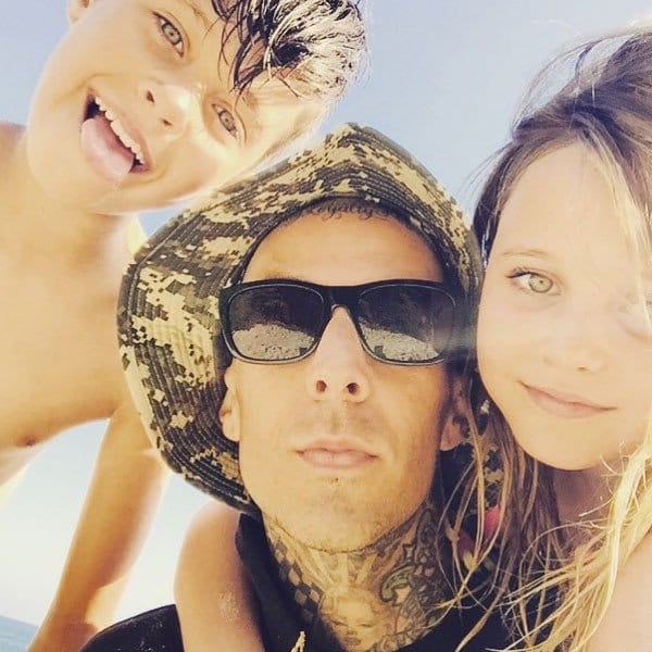 Blink-182 drummer Travis Barker with his family