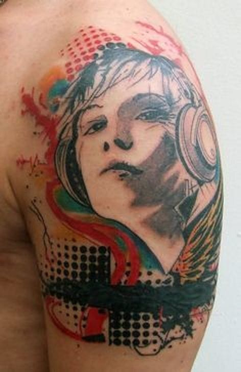Graphic tattoo of a boy with headphones.
