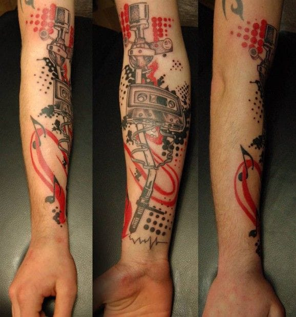 Cassette And Headphones Tattoo: 40 Music Tattoos That Rock