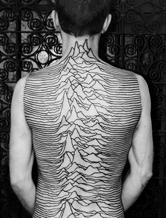 Wow, that's a dedicated fan … The cover of Joy Division's album, Unknown pleasures on the whole back !