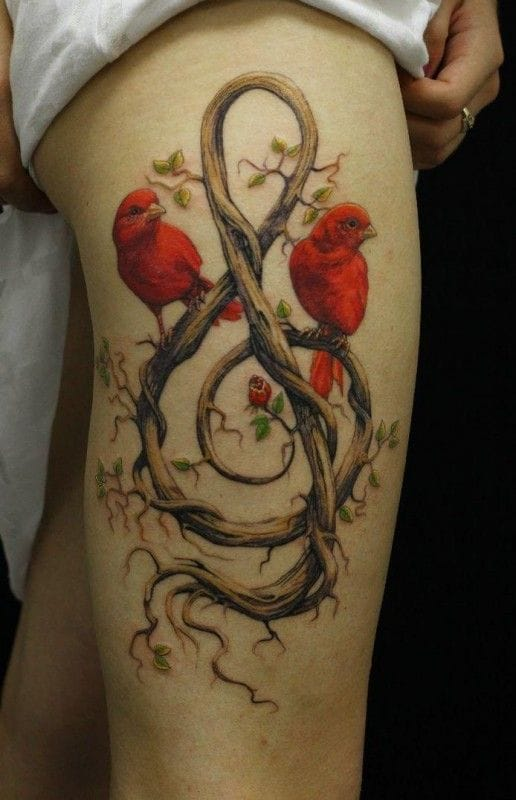 This is an amazing tattoo … Of course, the purest music is those of the birds and Nature …