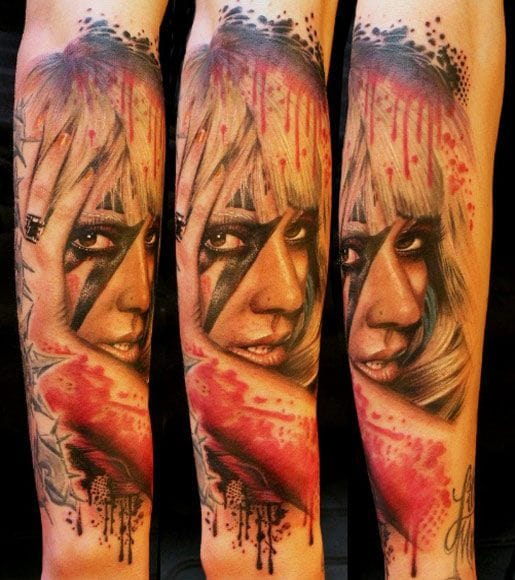 Lady Gaga's fans love to ink her as well. Here by Electric Linda.