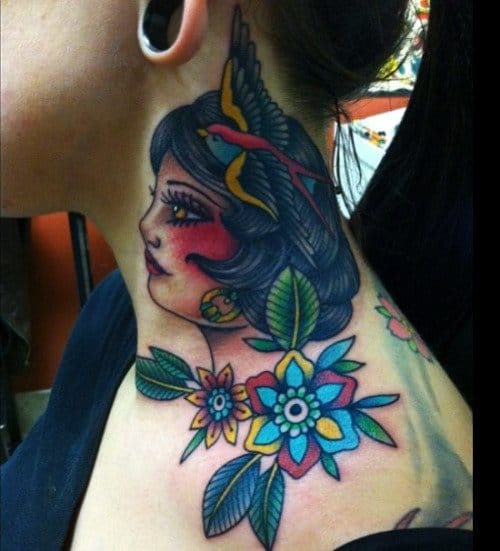 Woman Flower Tattoo by Shaun Topper