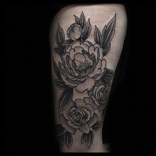 Dotwork flower tattoo