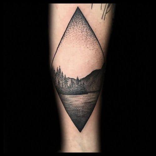 Dotwork landscape tattoo