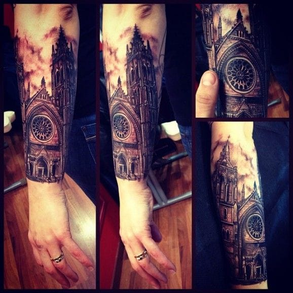 12 artistic church and cathedral tattoos tattoodo for Gothic city tattoos