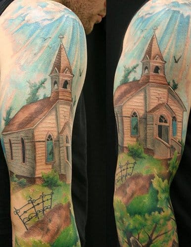 Colorful Church by Jackie Rabbit