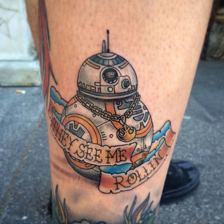 Hilarious tattoo of the highly expected Star Wars bot bb-8! By Matt Robinson.