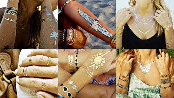 Temporary metallic tattoos are a common sight at most festivals!