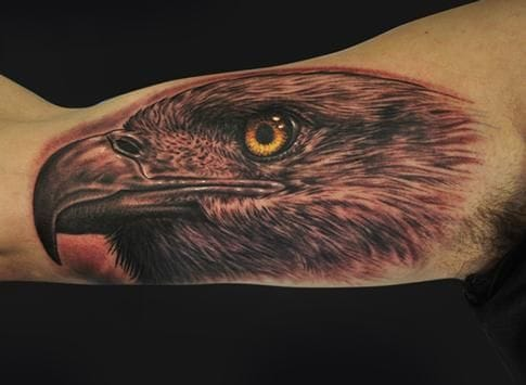 As king of birds & rulers of the sky, the eagle's message is about higher thinking, intelligence & mental liberation. Tattoo by Mike Devries.