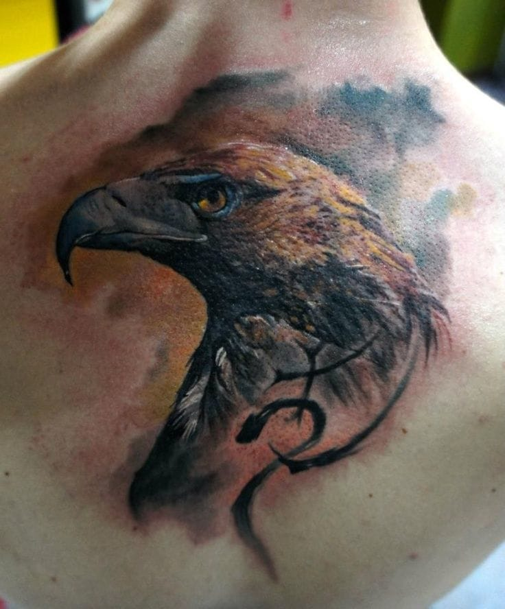 Even the eagle's head as a tattoo is just as beautiful! Tattoo by Domantas Parvainis, Totemas Tattoo, Lithuania.