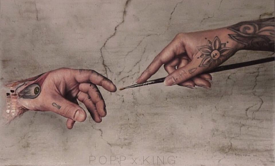 "Artwork by Kit King and Corey ""Odda"" Popp"