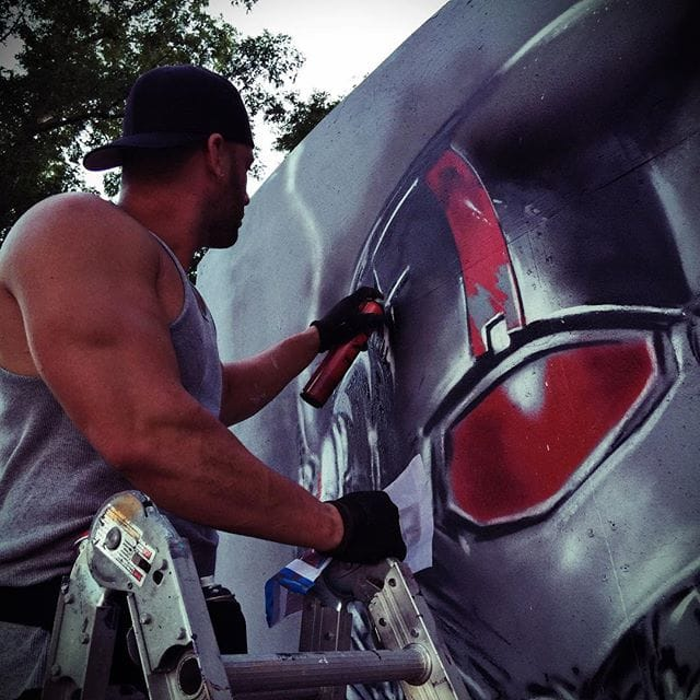Mack Muzik at Work on a Ant-Man Mural, via @jaymackmuzik