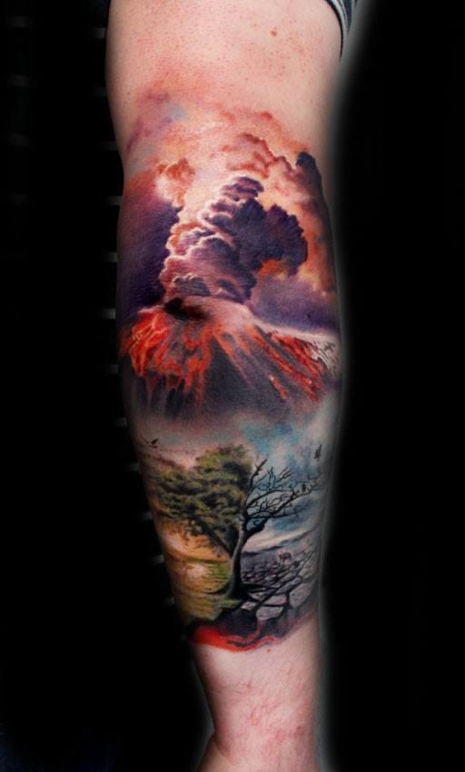 Amazing Volcano Tattoo by Puedmag Custom Ink