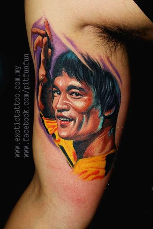 Beautiful colored bicep tattoo