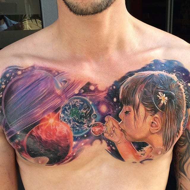 Amazing and beautiful idea: A kid blowing the universe into existence by Matthew Agius Out of this world! #matthewagius #portraittattoo #childportraittattoo