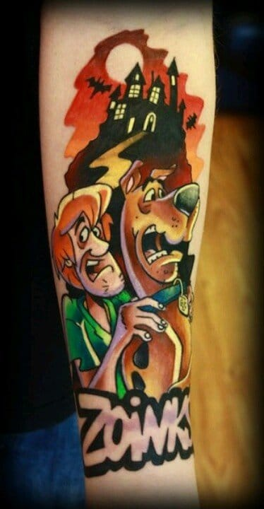 Crazy fore arm Scooby and Shaggy tattoo