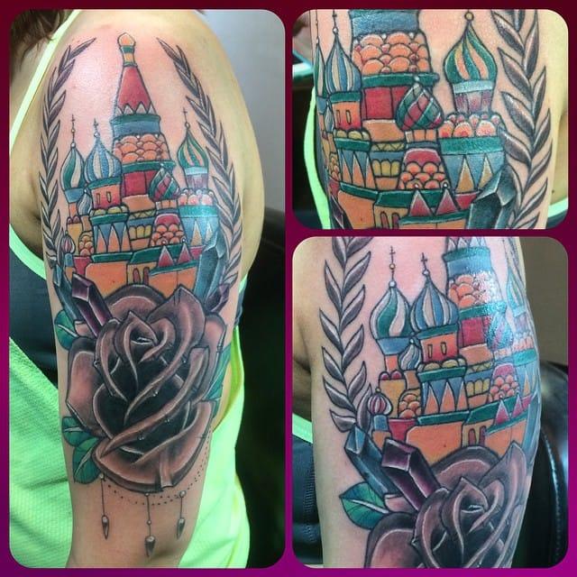 Colorful Kremlin Tattoo by Bryan F.N Myles
