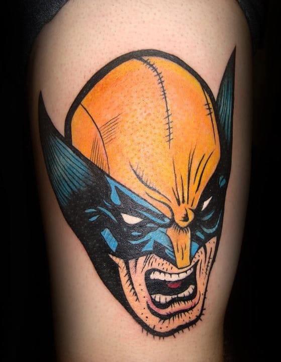 Cool comic book style illustration tattoo