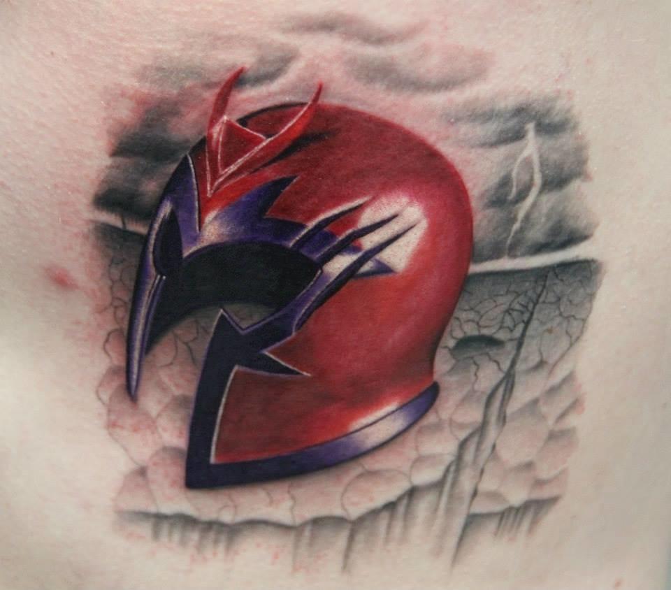 Magneto helmet tattoo