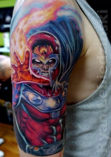 Beautiful colored Magneto tattoo