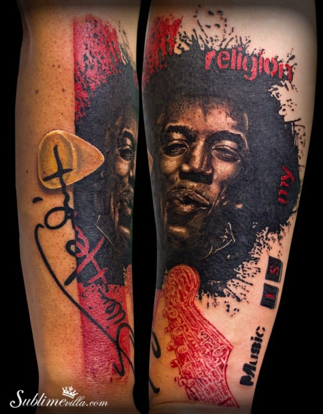 Awesome thrash Jimi Hendrix tattoo