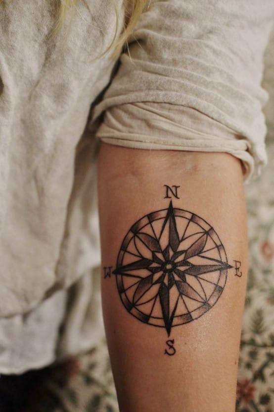Compass tattoo, artist unknown.