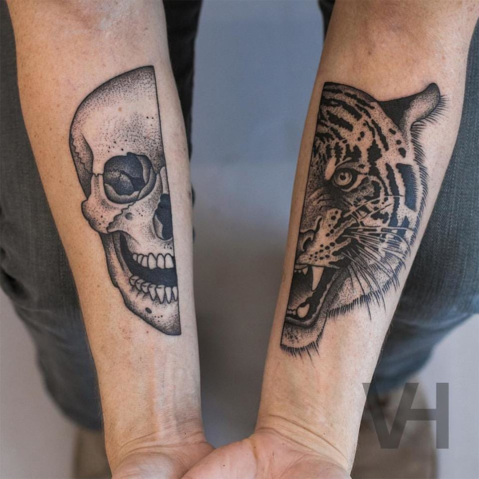 Skull and Tiger matching tattoos, symmetrical inspired tattoo By Valentin Hirsch