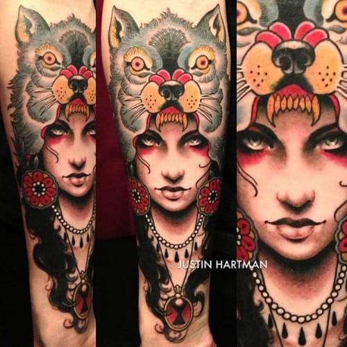 22 Excellent Wolf Cowl Tattoos