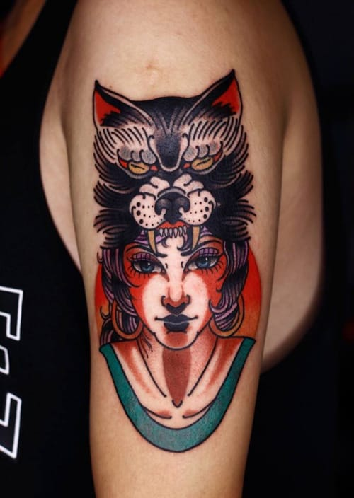 Wolf Cowl Tattoo by Mick Gore