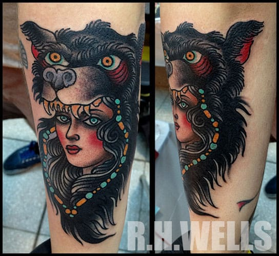 Wolf Cowl Tattoo by Ron Henry Wells