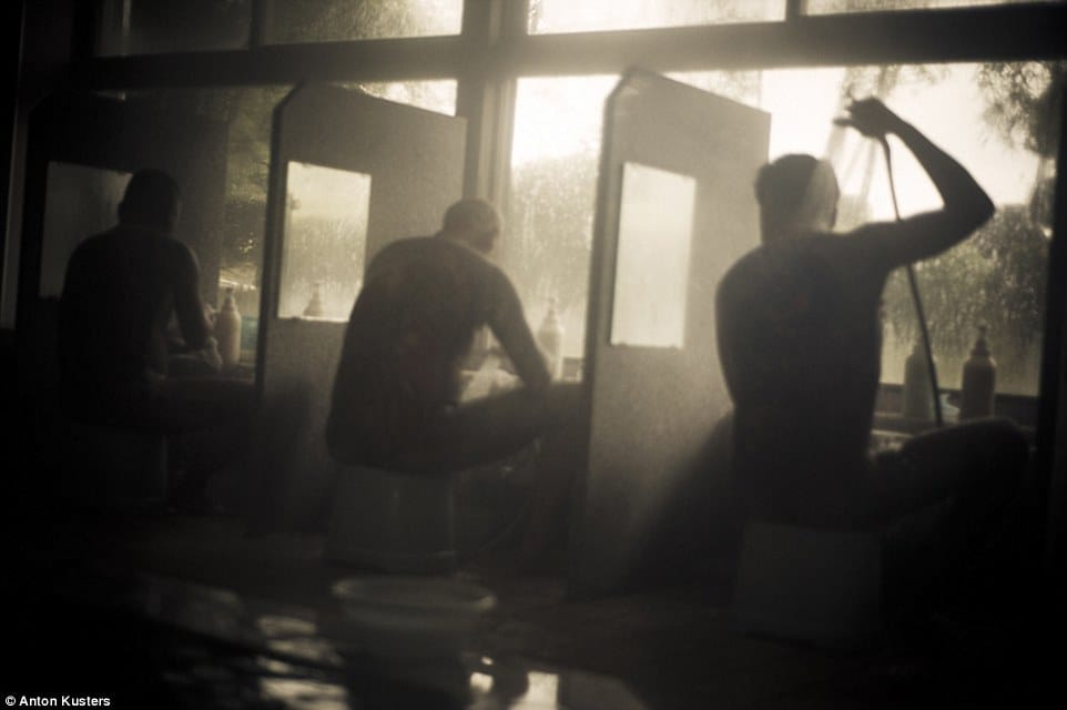 Yakuzas in bath house. Photo by Anton Kusters