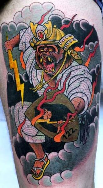 Bright Monkey Samurai Tattoo by Johan Ankarfyr