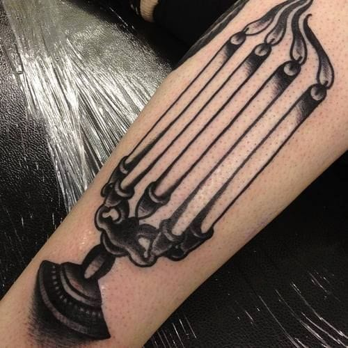 How many candles are there? Tattoo by Joe Ellis.