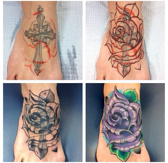 Process of free hand cover up done by James Mullin