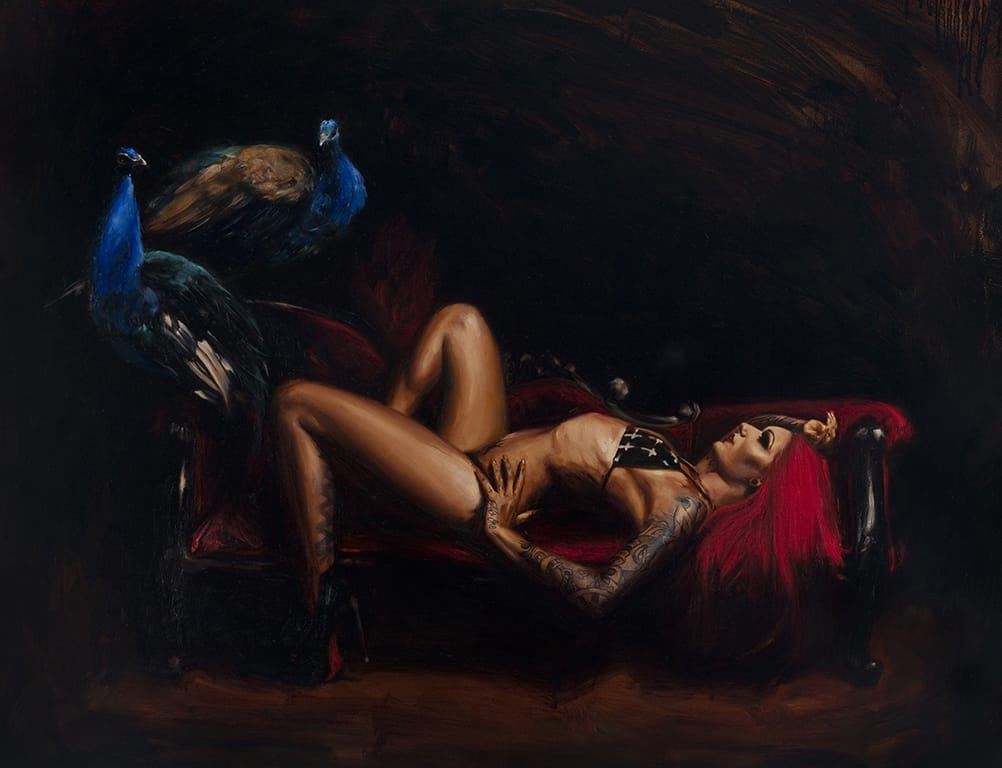 Tattooed woman oil painting by Chris Guest