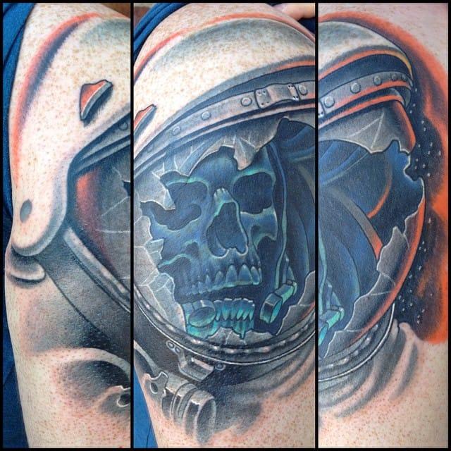 12 Ghostly Astronaut Skeleton Tattoos