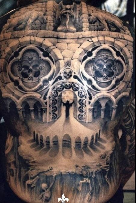 A Cathedral of Skulls & Bones. Freakin' awesome back piece tattoo!