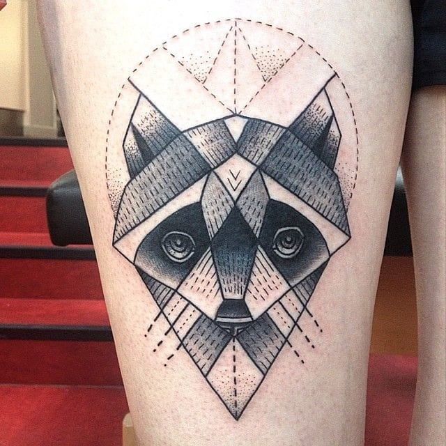 Geometric Raccoon Tattoo
