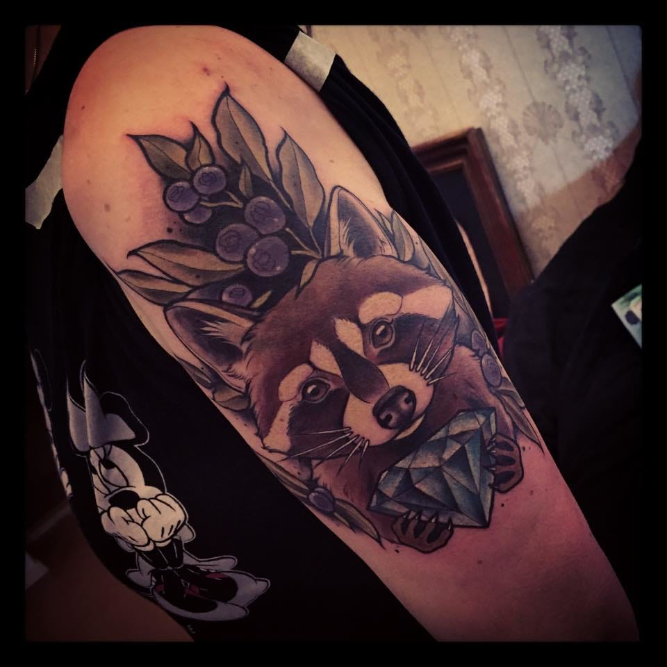 Colorful Raccoon with a diamond tattoo