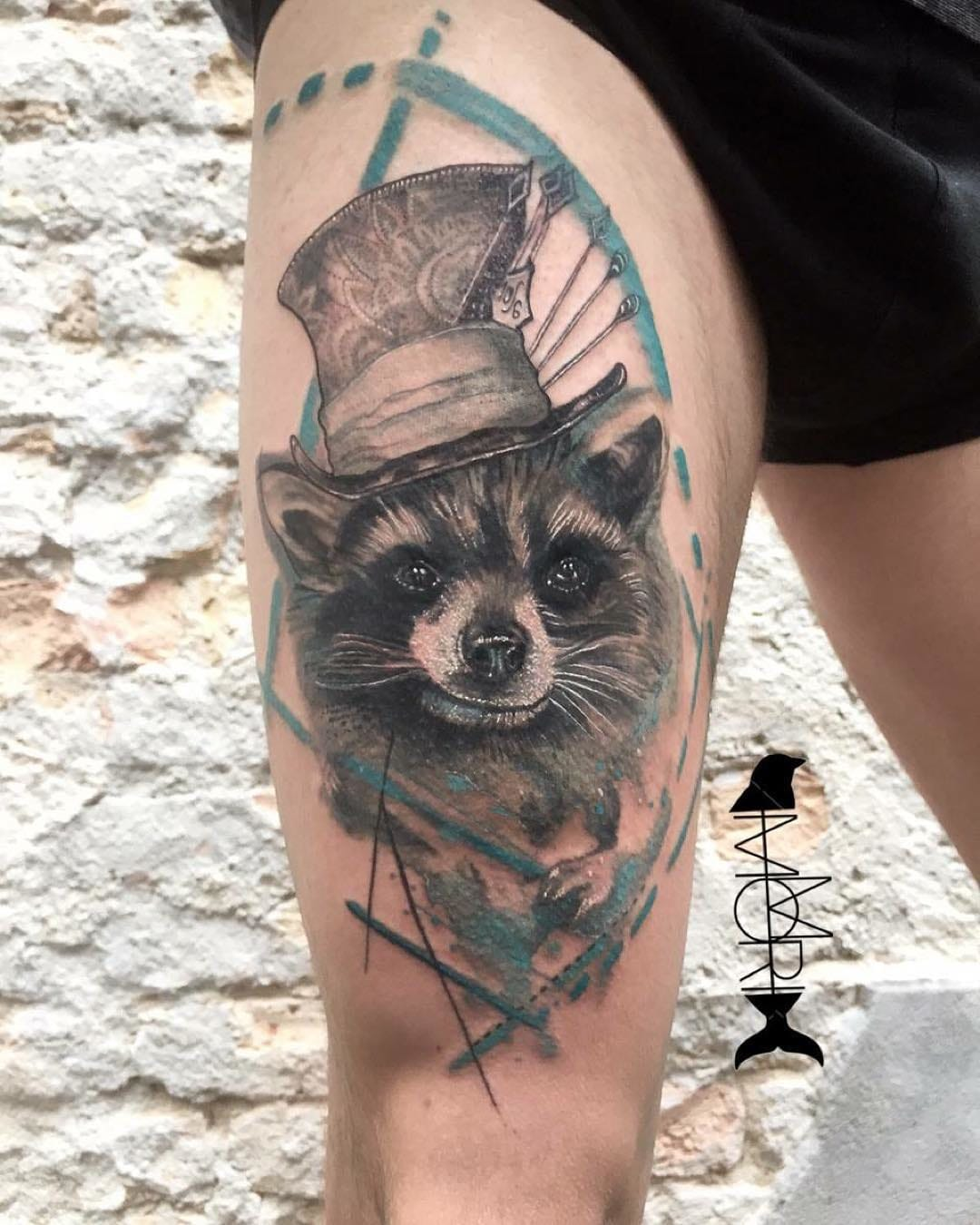Creative Raccoon Tattoo by Mo Mori